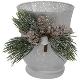 Silver Mercury Glass Pine Candle Holder