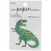 Green Glitter & Rhinestones Dinosaur Sticker