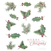 Christmas Holly Glitter Stickers
