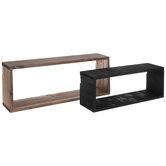 Brown & Black Rectangle Wood Wall Shelf Set