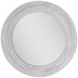 White Distressed Round Wood Wall Mirror
