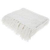 White Fringe Woven Throw Blanket