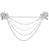Rhinestone Flower Chain Clips