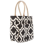 Black & White Quatrefoil Laminated Canvas Tote Bag With Pockets