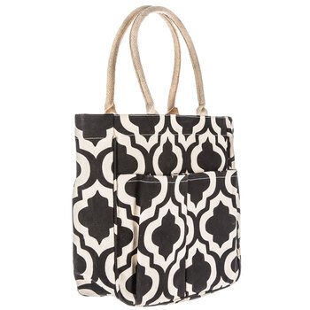 Black & White Quatrefoil Laminated Canvas Tote Bag With Pockets