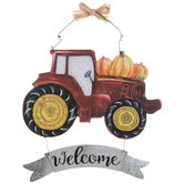 Welcome Tractor & Pumpkins Wood Wall Decor