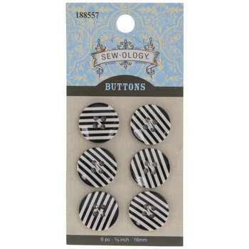 Striped Round Buttons - 16mm