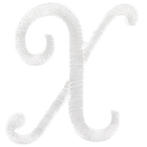 White Script Letter Iron-On Applique X - 1 1/2""