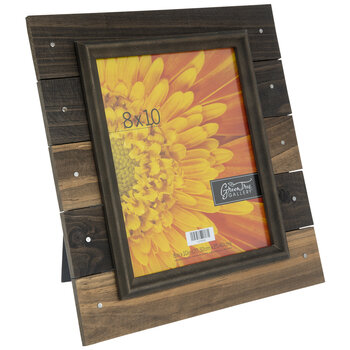 """Brown Nailed Wood Plank Frame - 8"""" x 10"""""""