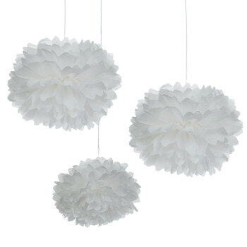 White Tissue Pom Poms
