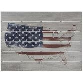 USA Flag Map Plank Wood Wall Decor