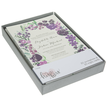 Purple Flowers Wedding Invitations