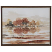 Red & Brown Watercolor Trees Canvas Wall Decor