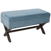 Turquoise Velvet Storage Bench