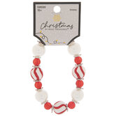 Red & White Striped Beaded Bracelet