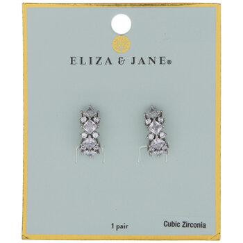 Cubic Zirconia Stone Half Hoop Earrings