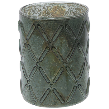 Dark Green Diamonds Glass Candle Holder