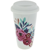 Floral Coffee Mug With Lid