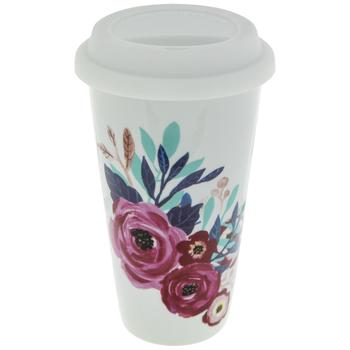 Floral Coffee Mug With Lid