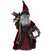 Maroon Santa With Wreath Tree Topper