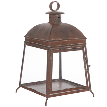 Rust Brown Trapezoid Metal Lantern
