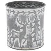Reindeer & Trees Metal Tree Container