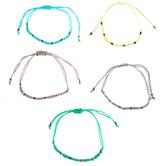 Green, Cream & Gray Beaded Slider Bracelets