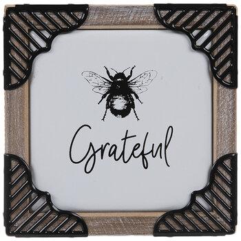 Grateful Bee Wood Wall Decor