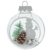 Snowy Snowman Scene In Ball Ornaments