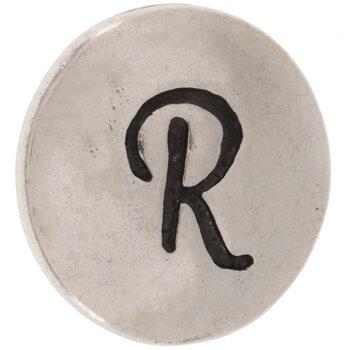 Hammered Alphabet Snap Charm - R