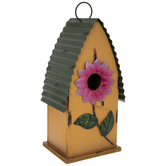 Yellow Metal Birdhouse With Flower Opening