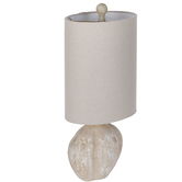 Distressed Cream Oval Lamp