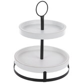 Black & White Two-Tiered Wood Tray