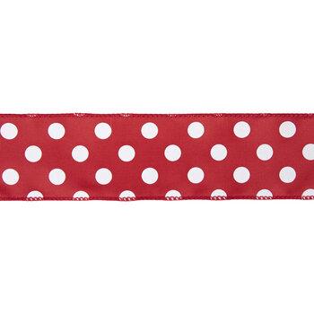 "Red & White Polka Dot Satin Wired Edge Ribbon - 2 1/2"""