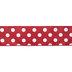 Red & White Polka Dot Satin Wired Edge Ribbon - 2 1/2