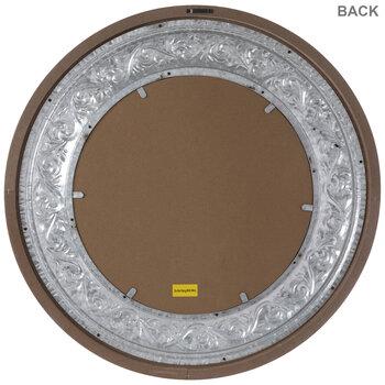 Distressed White Flourish Wood Wall Mirror