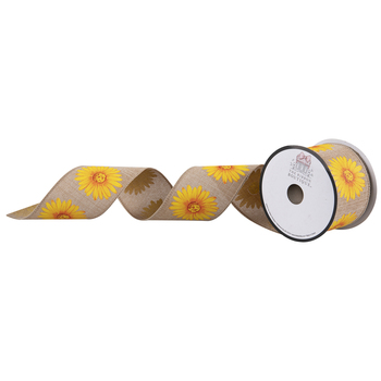 Sunflower Wired Edge Burlap Ribbon - 2 1/2""