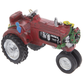 Red Tractor With Christmas Lights Ornament