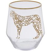 Gold Cheetah Stemless Glass