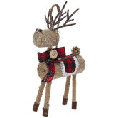 Buffalo Check Jute Reindeer Ornaments