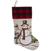 Red Buffalo Check & Snowman Stocking