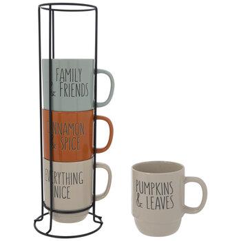 Pumpkin & Leaves Speckled Stacked Mugs