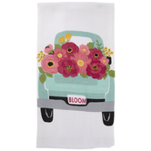Blue Truck With Flowers Kitchen Towel