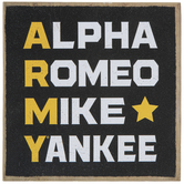 Army Phonetic Alphabet Wood Decor