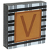 Plaid & Leather Letter Wood Wall Decor - V