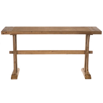 Scroll Rustic Wood Console Table