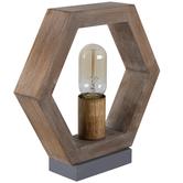 Open Hexagon Wood Lamp