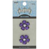 Purple Rhinestone Flower Shank Buttons - 20mm