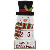 Days Til Christmas Snowman Wood Decor