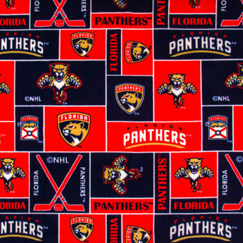 NHL Florida Panthers Block Fleece Fabric
